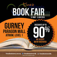 Times Bookstores will be having a Book Fair at Gurney Paragon featuring discounts of up to 90% off from 31 May to 5 Jun 2016