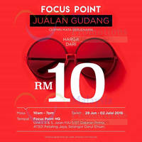 Focus Point is having a Warehouse Sale from 29 June to 2 July 2016, 10am to 7pm at Petaling Jaya