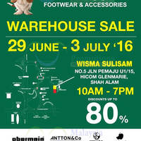 Hush Puppies is having a Warehouse Sale from 29th June to 3 July 2016 at Wisma Sulisam Glenmarie. Enjoy discounts of up to 80% off
