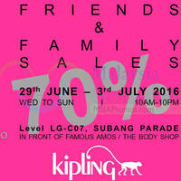 Enjoy up to 70% OFF at Kipling Friends & Family Sale from 29th June to 3rd July