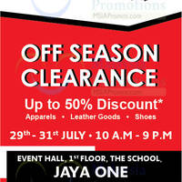 Enjoy up to 50% discount at Lacoste's Off Season Clearance happening from 29 July to 31 July at The School Jaya One