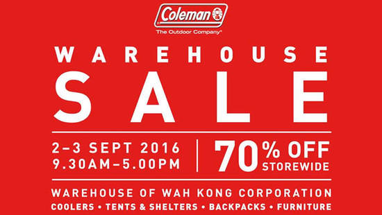 Coleman Warehouse Sale Feat 22 Aug 2016