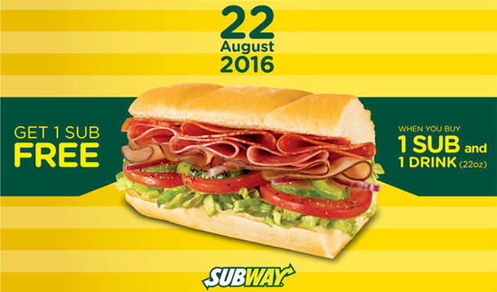 Subway Buy 1 Feat 15 Aug 2016