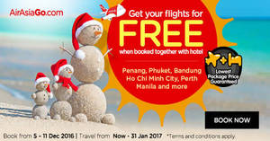 Book a hotel & get your flights for FREE with Air Asia Go's latest promo from 5 – 11 Dec 2016
