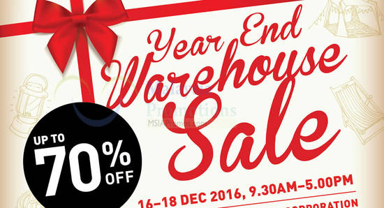 Coleman Warehouse Sale feat 1 Dec 2016