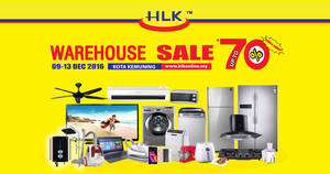 HLK up to 70% off warehouse sale at Kota Kemuning Shah Alam from 9 – 13 Dec 2016