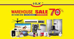 HLK up to 70% off warehouse sale at Kota Kemuning Shah Alam from 9 – 13 Dec 2016