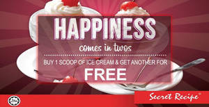 Secret Recipe offers buy-1-free-1 scoops of ice cream at all Penisular outlets from 1 – 31 Dec 2016