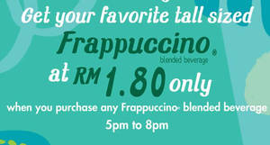 Starbucks offers your second Frappuccino for only RM1.80 on Thursdays from 1 – 15 Dec 2016