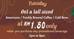 Starbucks RM1.80 Americano or Freshly Brewed Coffee or Cold Brew on Tuesdays from 6 – 13 Dec 2016
