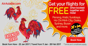 Book a hotel & get your flights for FREE with Air Asia Go's latest promo from 16 – 22 Jan 2017