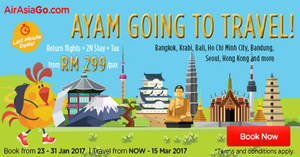 Grab a vacation from RM299/pax (Return flights + 2N stay + Tax) with Air Asia Go's promo packages from 23 – 31 Jan 2017