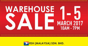 Royal Sporting House: Warehouse Sale – Prices start fr RM5 at Subang Jaya from 1 – 5 Mar 2017