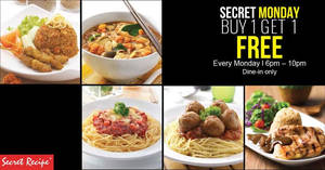 Secret Recipe FREE main course when you buy any selected main course on Mondays from 13 Feb 2017