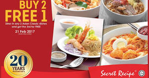 Secret Recipe buy-2-get-1-free Asian Classic menu for ONE DAY only on 21 Feb 2017