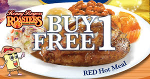 Kenny Rogers Roasters: Buy-1-free-1 Red Hot meal with soup at ALL outlets! From 23 – 27 Oct 2017