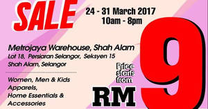 Reject Shop Warehouse SALE at Shah Alam from 24 – 31 Mar 2017