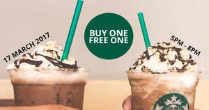 Starbucks offers buy-one-free-one on Nutty Peppermint Mocha / Chocolate beverages on 17 Mar 2017