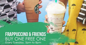 Starbucks: Buy One FREE One on Tuesdays, 5pm – 8pm from 2 – 30 May 2017