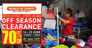 World of Sports up to 70% off clearance sale! From 16 – 22 Jun 2017
