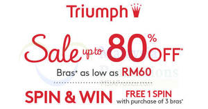 Triumph up to 80% off sale at AEON Taman Maluri! From 14 – 21 Aug 2017