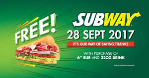 Subway: Buy 1 FREE 1 Sub at ALL outlets nationwide on 28 Sep 2017!