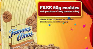 Famous Amos: Free 50g cookies with every 100g cookies purchase! From 23 – 27 Nov 2017