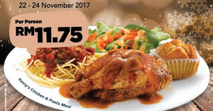 Kenny Rogers ROASTERS: Chicken & Pasta meal for two at only RM11.75/pax! From 22 – 24 Nov 2017