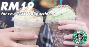 Starbucks: Tall Frappuccino for just RM19 from 14 – 16 Dec 2017, 5pm – 7pm!