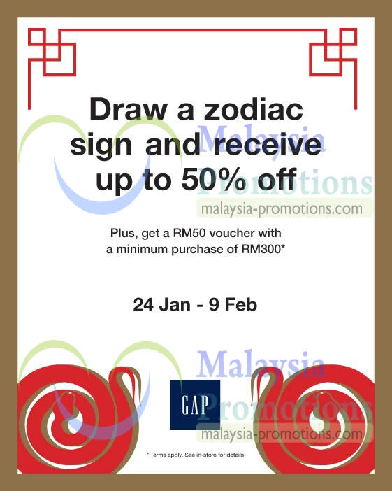 Featured image for GAP Draw A Zodiac & Get Up To 50% Off 24 Jan – 9 Feb 2013