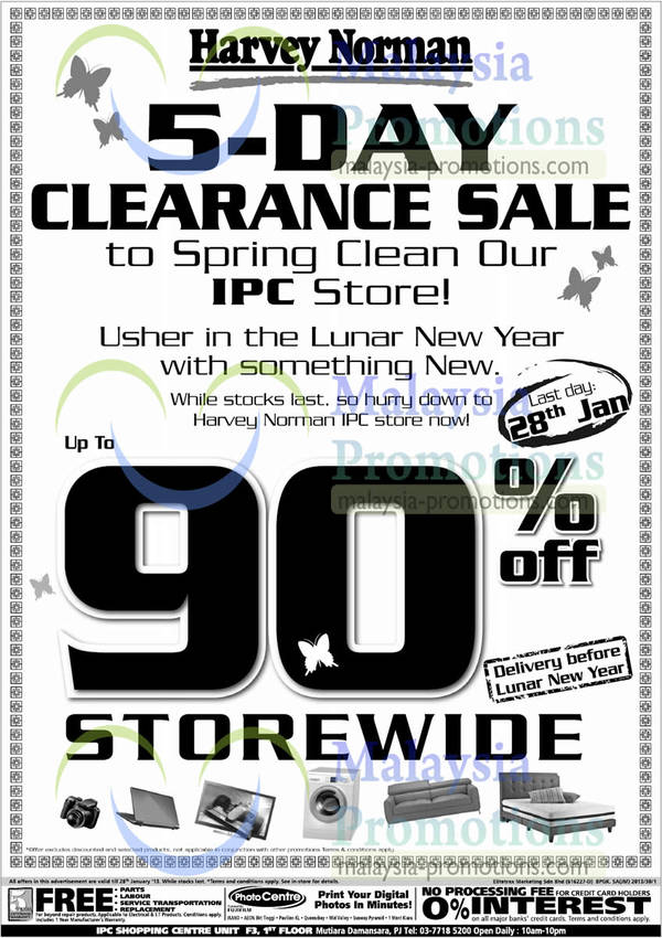 Featured image for Harvey Norman Up To 90% Off Clearance Sale @ IPC 24 – 28 Jan 2013