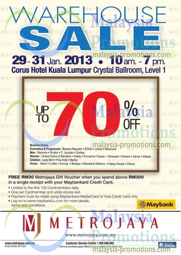 Featured image for Metrojaya Warehouse Sale Up To 70% Off @ Corus Hotel 29 – 31 Jan 2013