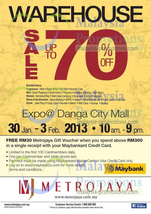 Featured image for Metrojaya Warehouse Sale Up To 70% Off @ Danga City Mall 30 Jan – 3 Feb 2013