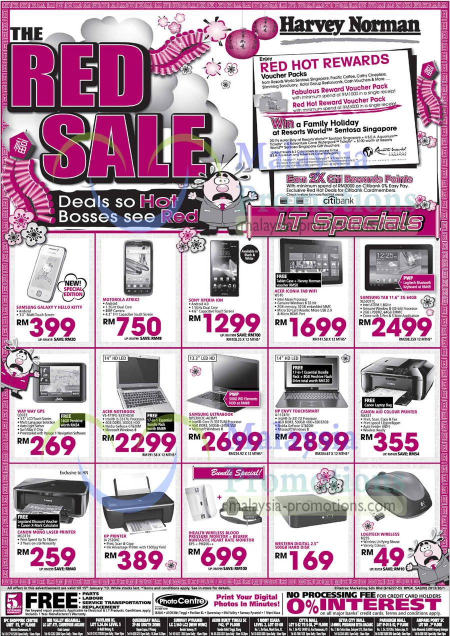 Featured image for Harvey Norman Furniture, Smartphones, Notebooks & Accessories Offers 10 - 15 Jan 2013