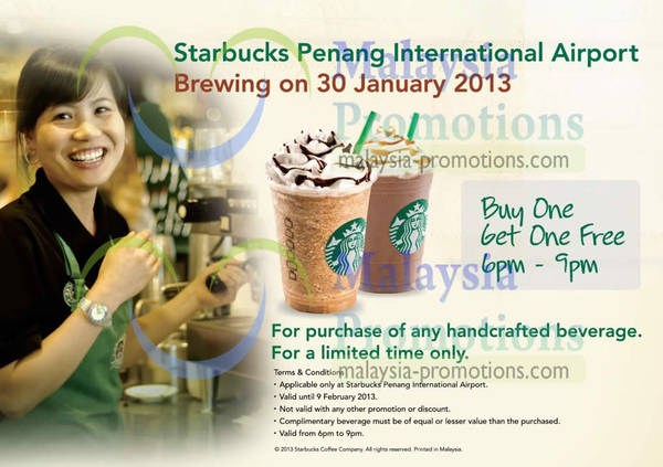 Featured image for Starbucks 1 For 1 Coffee Promo @ Penang International Airport 30 Jan – 9 Feb 2013