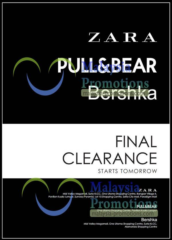 Featured image for Zara, Pull&Bear & Bershka Final Clearance 31 Jan 2013