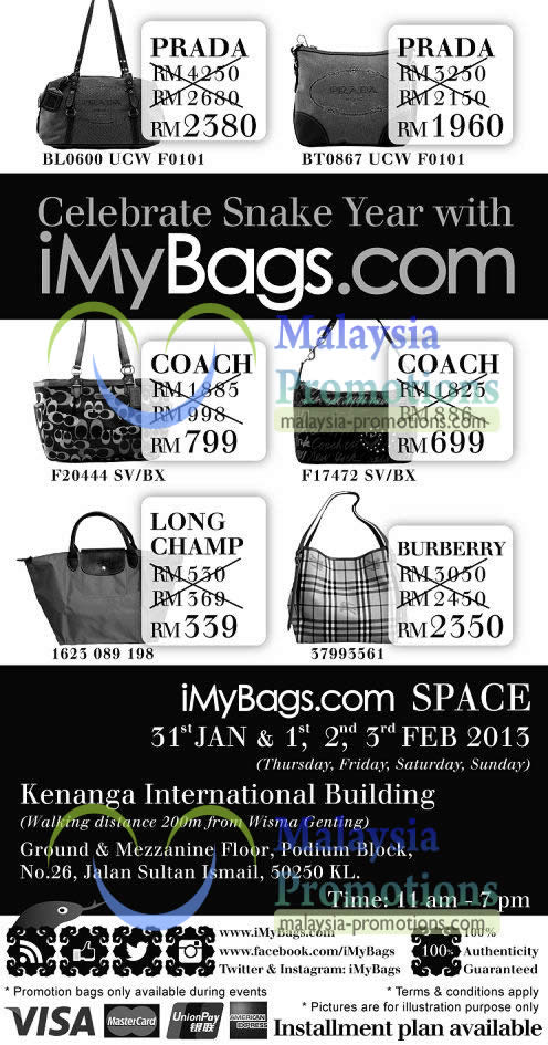 Featured image for iMyBags Space Branded Handbags Clearance Sale @ Kenanga Intl Building 31 Jan – 3 Feb 2013