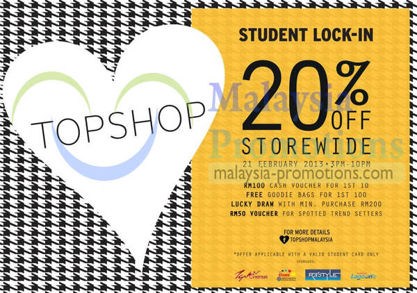 Featured image for Topshop 20% Off Storewide Student Lock-In Promotion @ Sunway Pyramid 21 Feb 2013