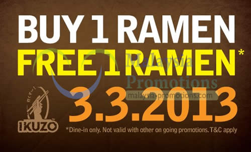 Featured image for Ikuzo Ramen 1 For 1 Dine-In Promotion @ All Outlets 3 Mar 2013