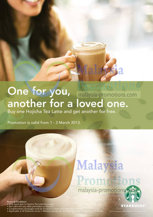 Featured image for Starbucks 1 For 1 Hojicha Tea Latte Promo @ All Outlets Islandwide 1 – 3 Mar 2013