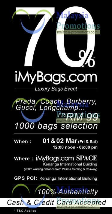 Featured image for iMyBags Space Branded Handbags Clearance Sale @ Kenanga Intl Building 1 – 2 Mar 2013