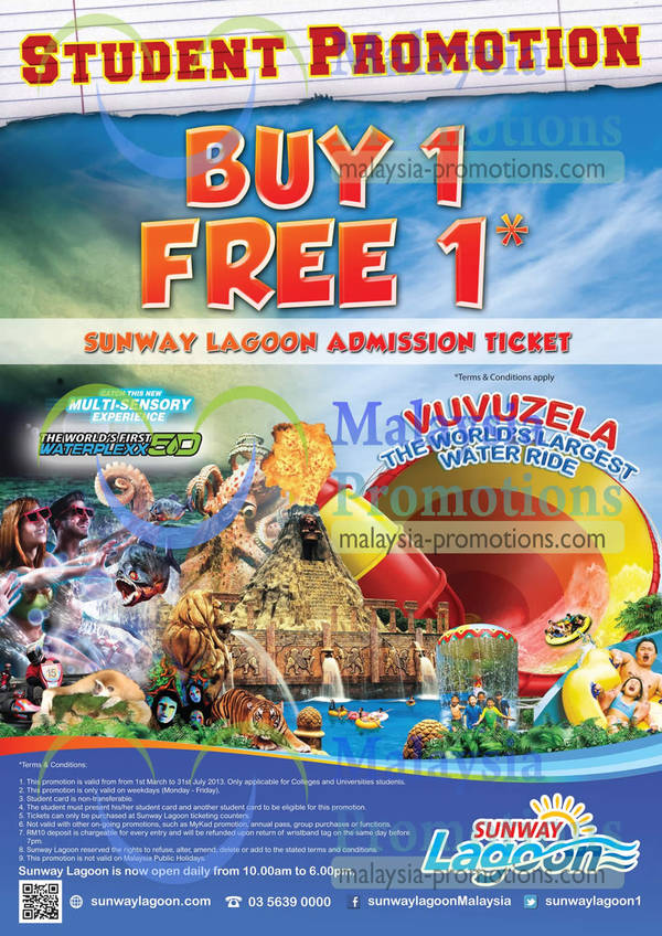 Featured image for Sunway Lagoon 1 for 1 Admission Ticket Student Promotion 1 Mar – 31 July 2013