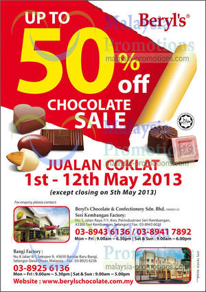 Featured image for Beryl's Up To 50% Off Chocolate Sale 1 – 12 May 2013