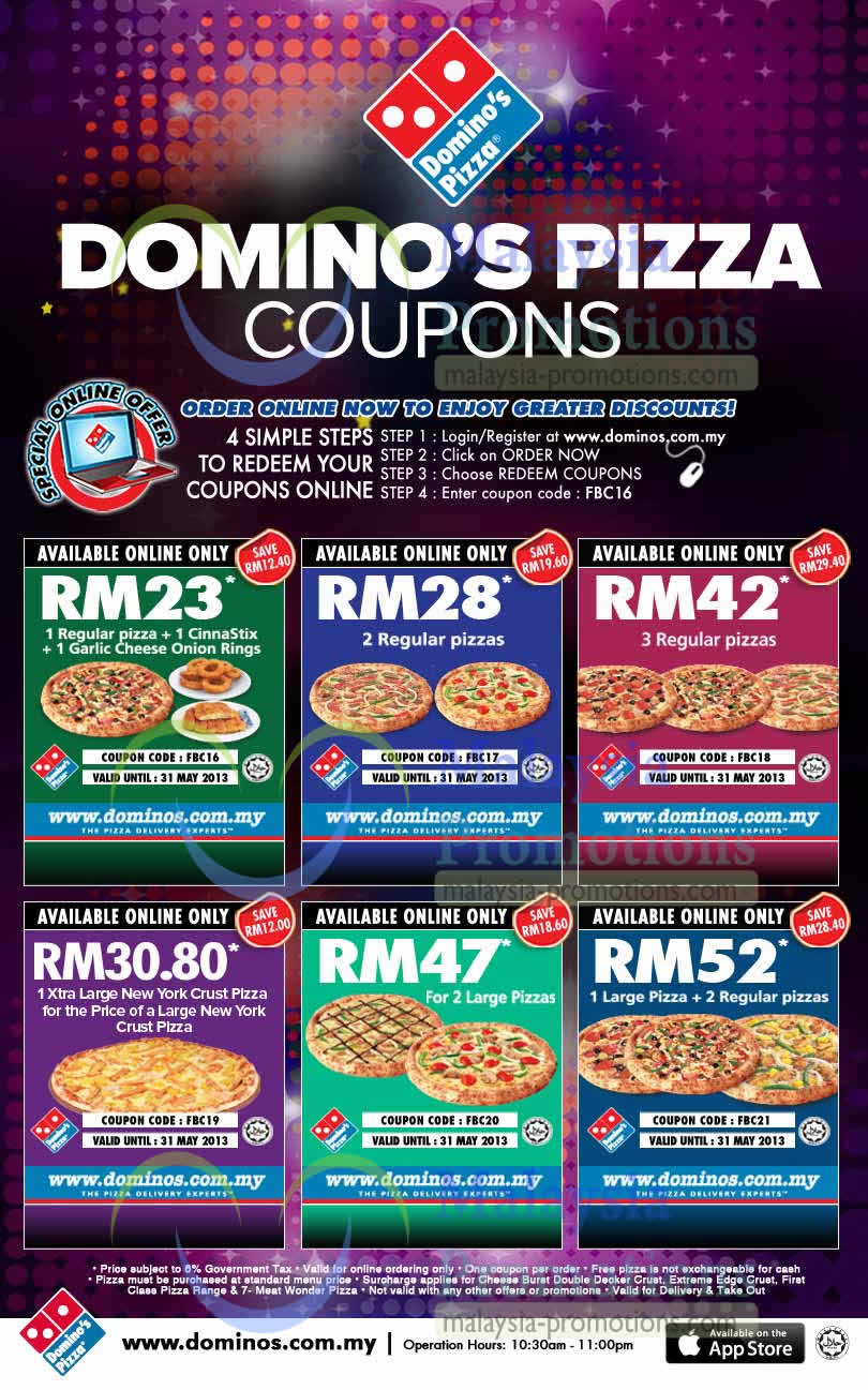 Domino S Pizza Delivery Discount Coupon Codes 8 31 May 2013