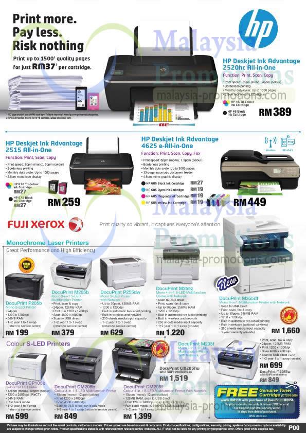 HP Printers, 2515, 4625, 2520, P205b, M205b, M255Z, M355df, CM205f