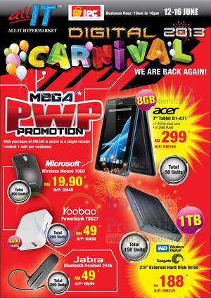Featured image for All IT Hypermarket Digital Carnival 2013 @ IPC Shopping Centre 12 – 16 Jun 2013