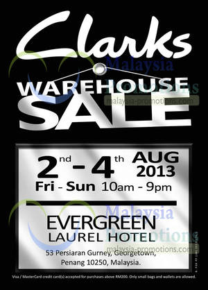 Featured image for Clarks Warehouse SALE @ Evergreen Laurel Hotel 2 – 4 Aug 2013