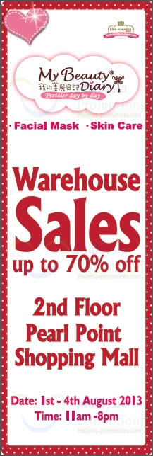 Featured image for My Beauty Diary Warehouse Sale Up To 70% Off @ Pearl Point 1 – 4 Aug 2013