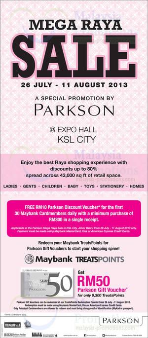 Featured image for Parkson Mega Raya SALE @ Expo Hall KSL City 26 Jul – 11 Aug 2013