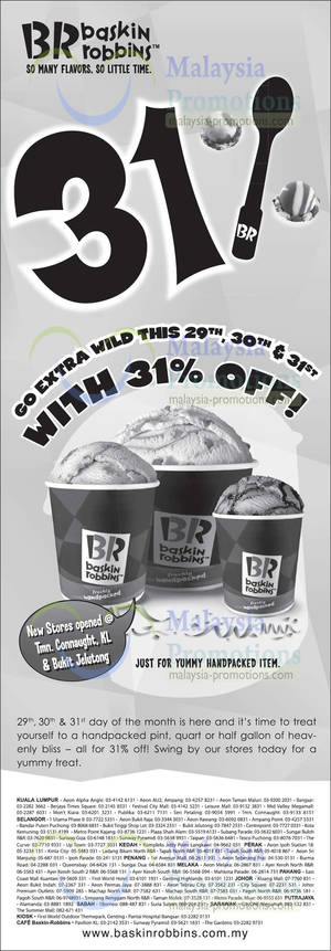 Featured image for Baskin-Robbins 31% Off ALL Ice Cream 29 – 31 Aug 2013